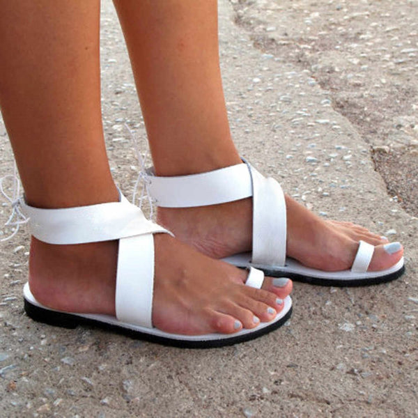 Block Heel Zipper Heel Covering Toe Ring High-Cut Upper Plain Sandals