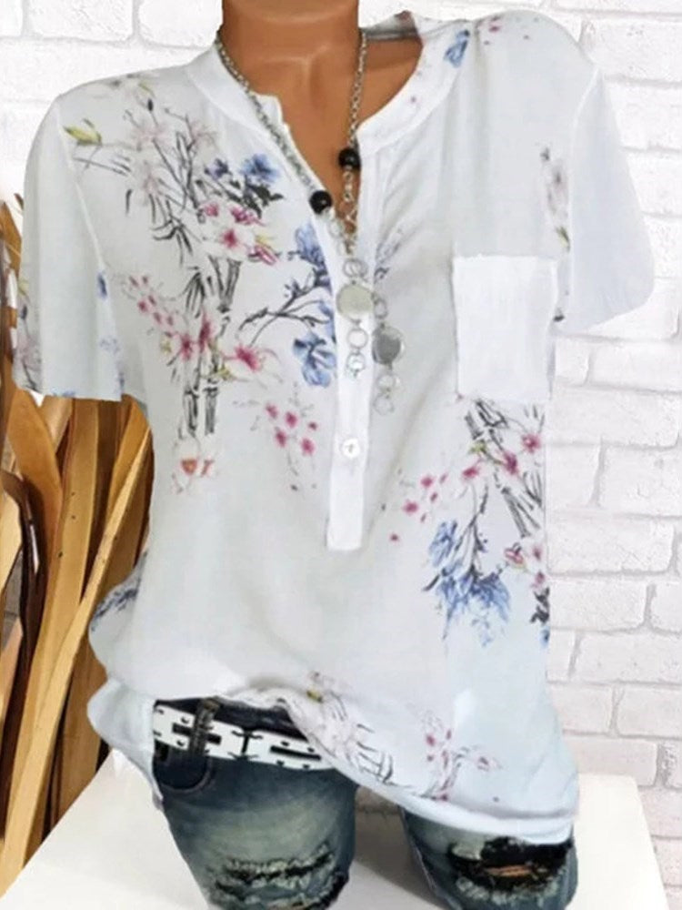 Floral Pocket Short Sleeve Mid-Length Blouse