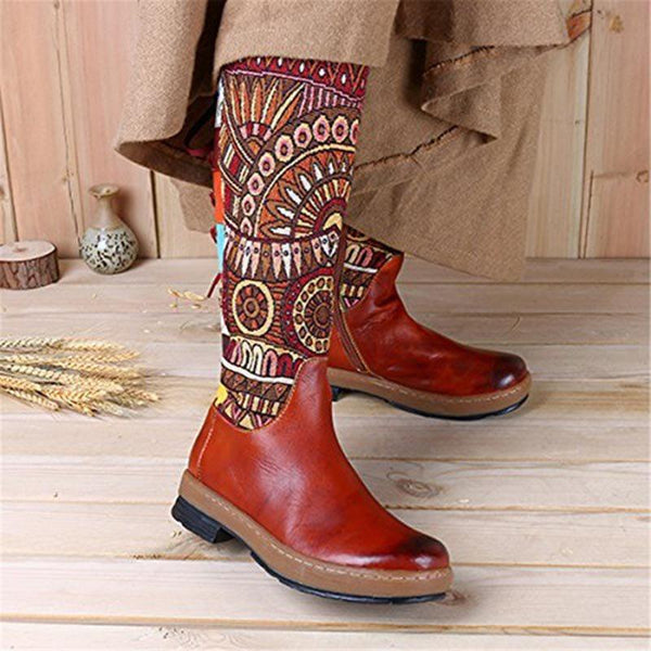 Side Zipper Patchwork Round Toe Western Thread Boots