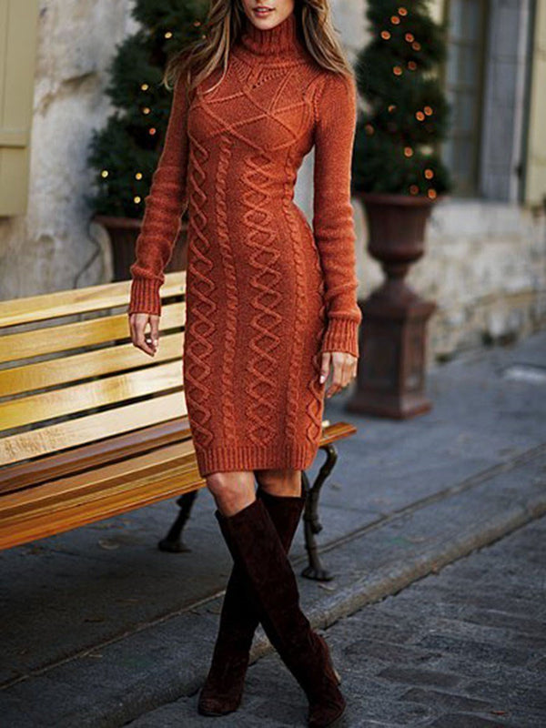 Long Sleeve Turtleneck Knee-Length Regular Plain Dress
