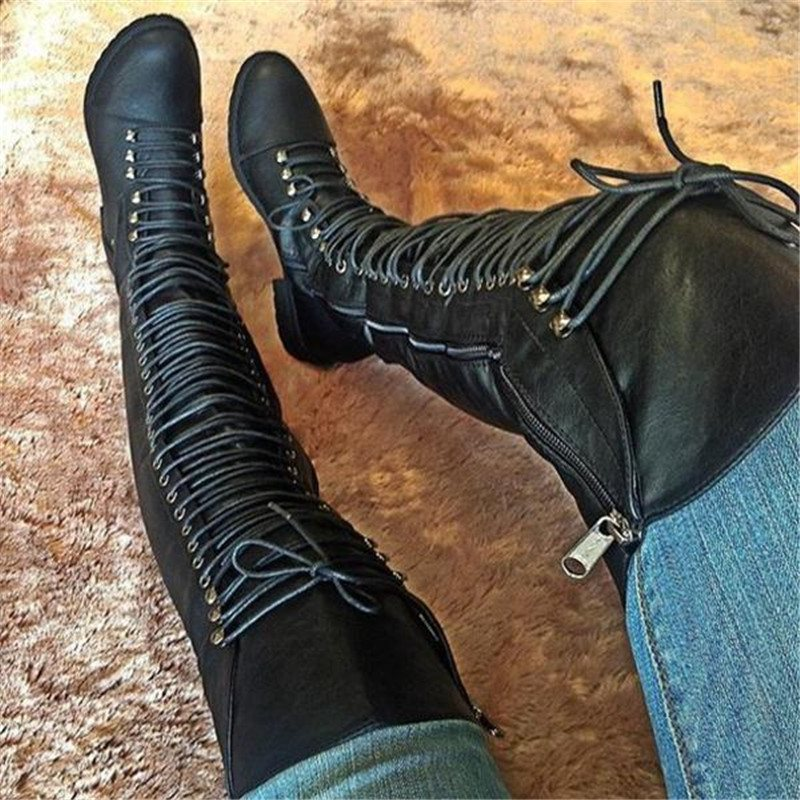 Plain Round Toe Side Zipper Block Heel Casual Cross Strap Boots