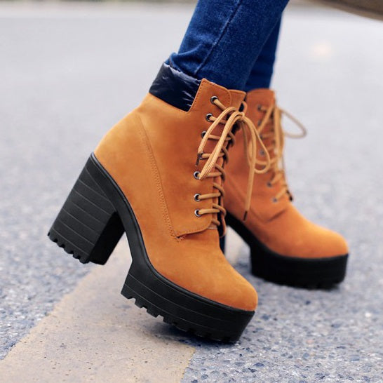 Round Toe Lace-Up Front Plain Chunky Heel Platform Casual Boots