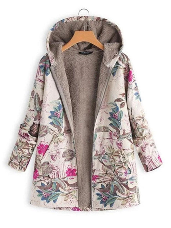 Print Zipper Loose Hooded Mid-Length Overcoat