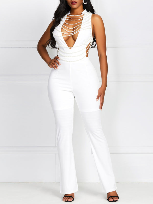 Date Night Full Length Plain High Waist Slim Jumpsuit