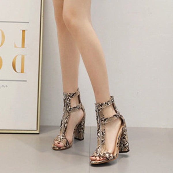 Heel Covering Zipper Open Toe Chunky Heel Casual Hollow Sandals