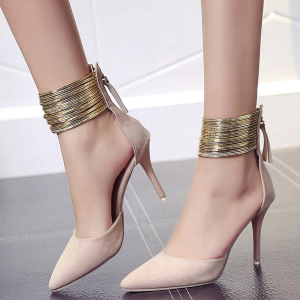 Pointed Toe Sequin Stiletto Heel Zipper High-Cut Upper Plain Thin Shoes