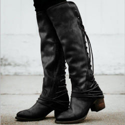 Round Toe Side Zipper Plain Chunky Heel Cotton Cross Strap Boots