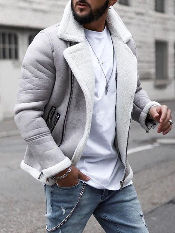 Lapel Zipper Slim Casual Jacket