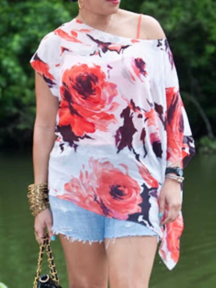 Print Floral Mid-Length Long Sleeve Blouse