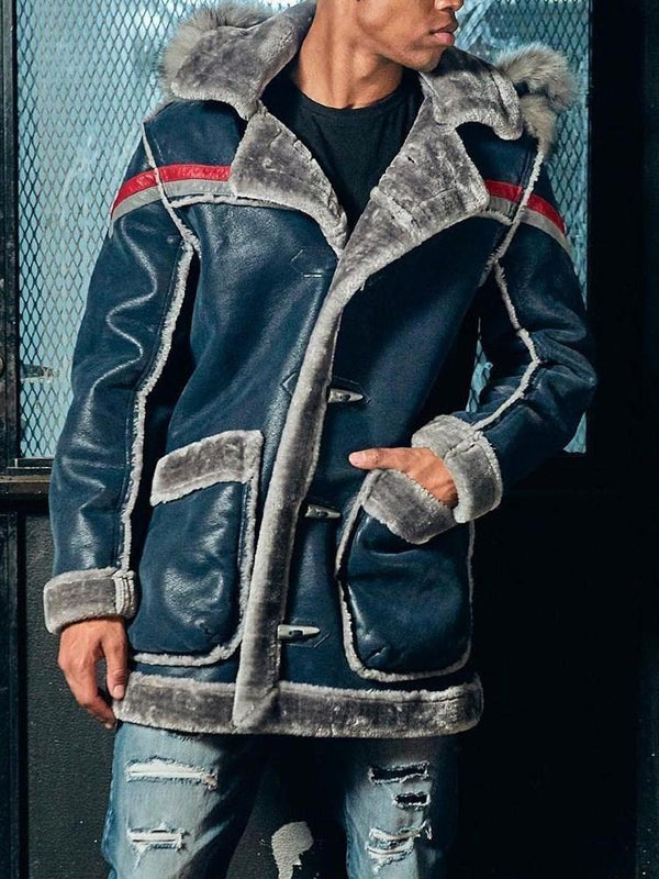 Patchwork Hooded Thick Casual Straight Jacket
