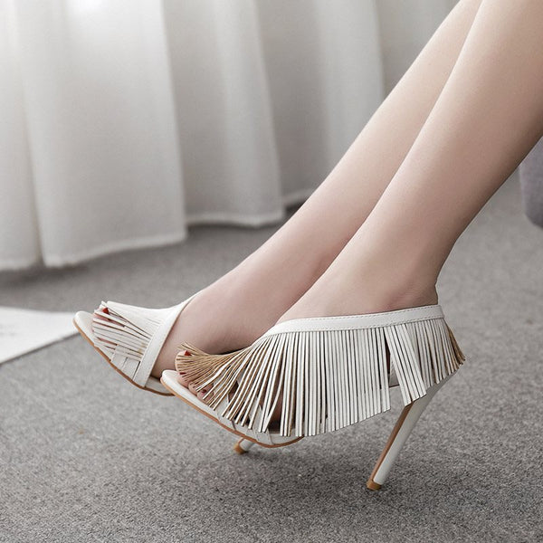 Stiletto Heel Slip-On Open Toe Casual Fringe Sandals