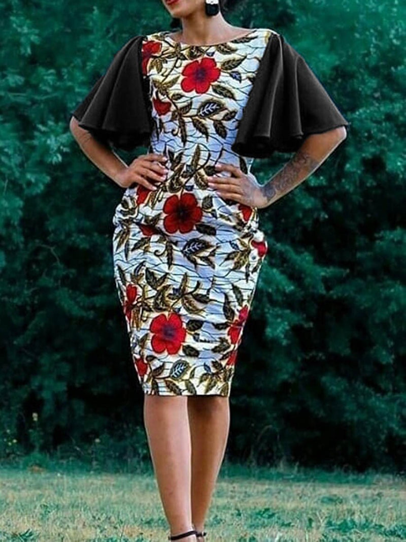 Round Neck Knee-Length Half Sleeve Floral Bodycon Dress