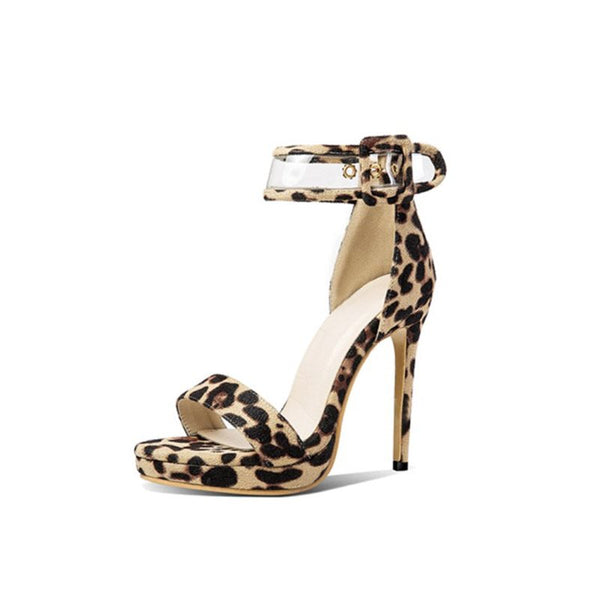 Stiletto Heel Heel Covering Buckle Open Toe Leopard Casual Sandals