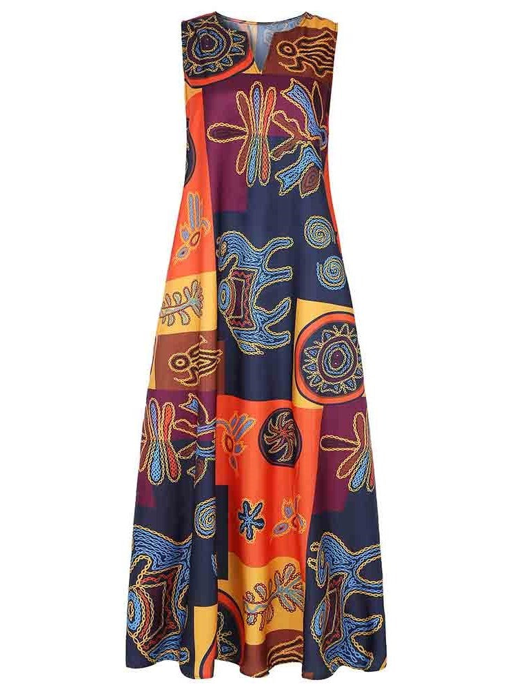 Print Sleeveless Ankle-Length Expansion Summer Dress