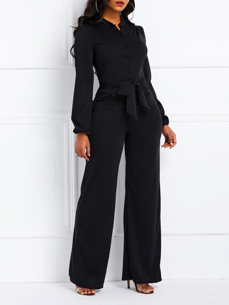 Lace-Up Casual Full Length Slim Straight Jumpsuit