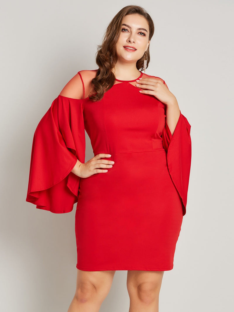 Round Neck Three-Quarter Sleeve Asymmetric Sexy Pullover Dress
