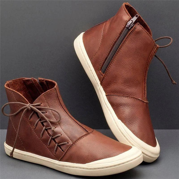Side Zipper Round Toe Plain Zipper Casual Boots