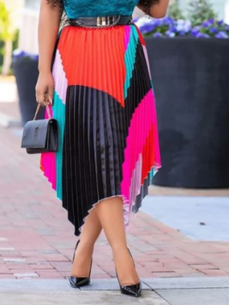Patchwork Pleated Color Block High Waist Skirt