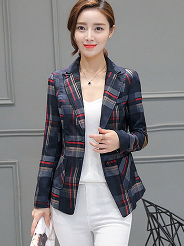 Single-Breasted Houndstooth Long Sleeve Standard Spring Casual Blazer