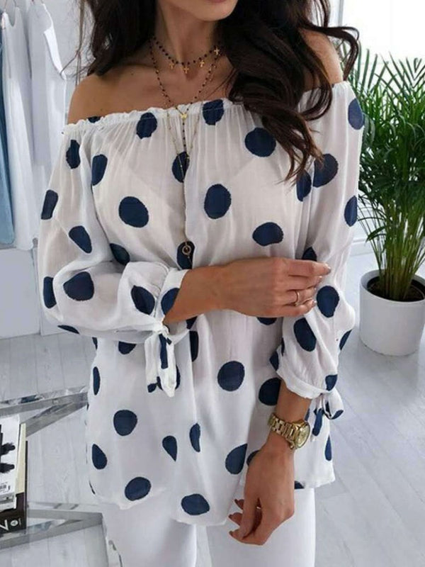 Lantern Sleeve Print Off Shoulder Nine Points Sleeve Mid-Length Blouse