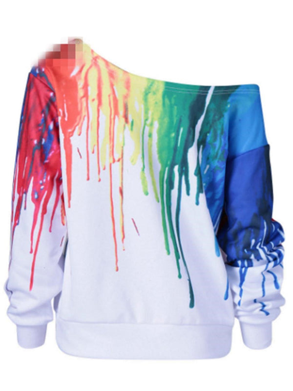 Regular Color Block Paint Splatters Fall Long Sleeve Hoodie