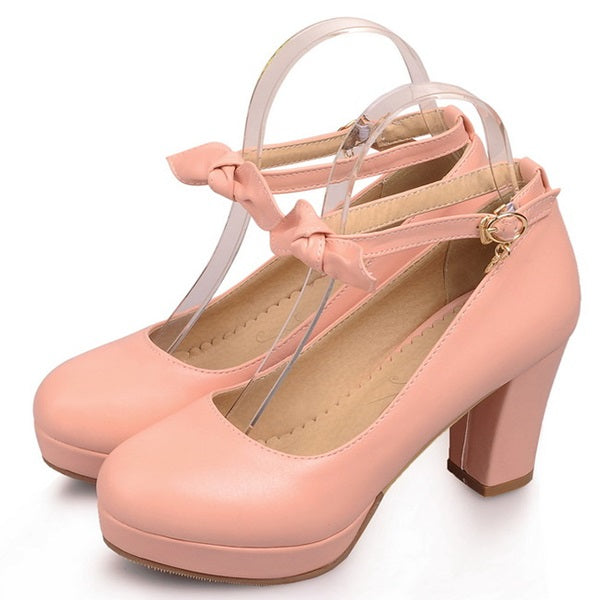 Round Toe Chunky Heel Bow Line-Style Buckle Sweet Low-Cut Upper Thin Shoes