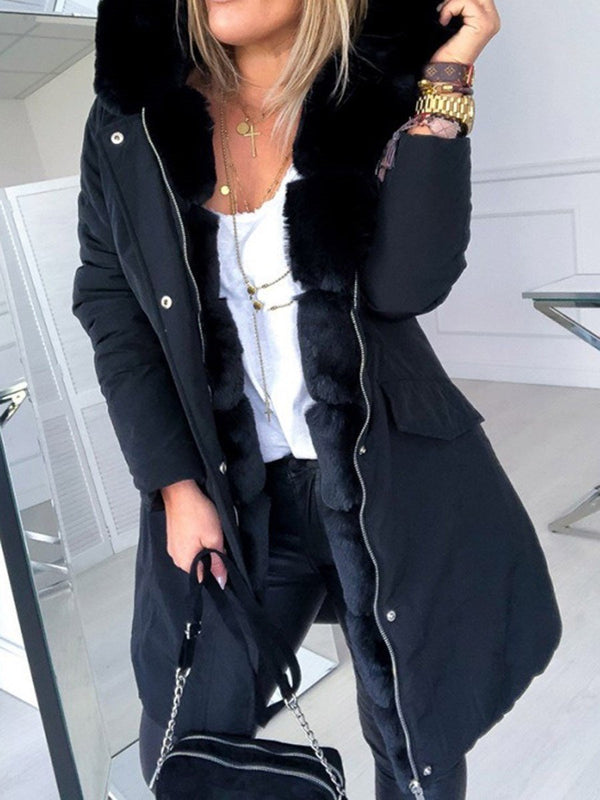 Patchwork Hooded Mid-Length Long Sleeve Casual Trench Coat