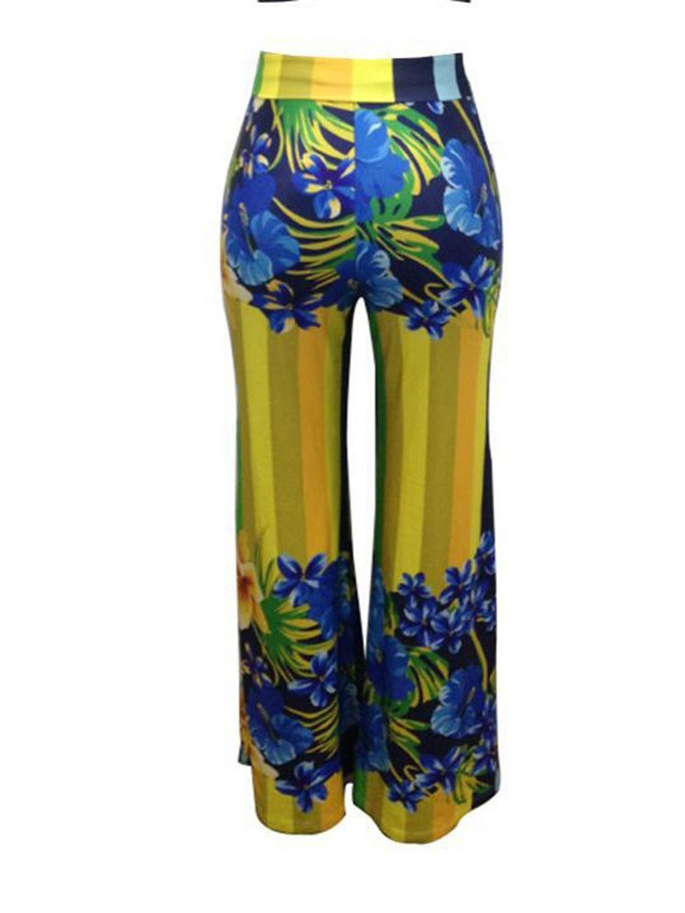 Color Block Print Loose High Waist Full Length Casual Pants