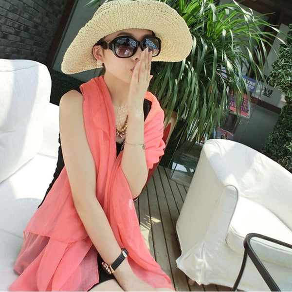 Scarf Chiffon Pleated Plain Scarves