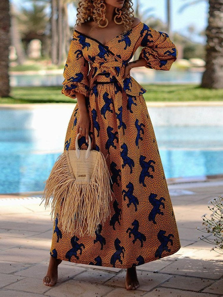 Floor-Length Print Three-Quarter Sleeve Animal Pullover Dress