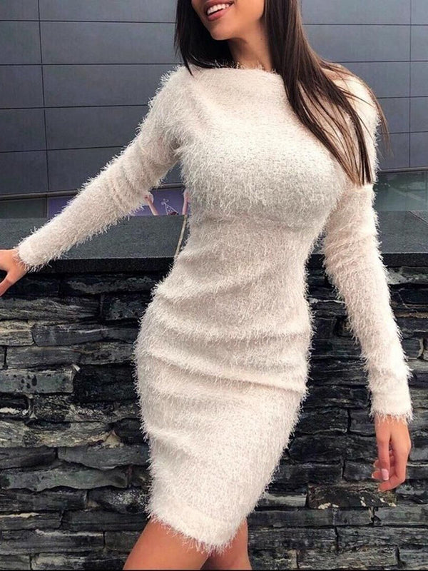Long Sleeve Off Shoulder Above Knee Plain Bodycon Dress