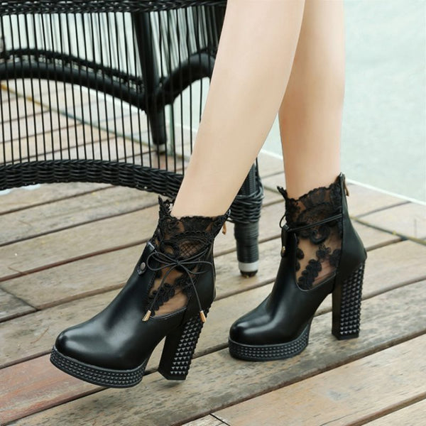 Back Zip Round Toe Chunky Heel Patchwork Lace-Up Casual Boots