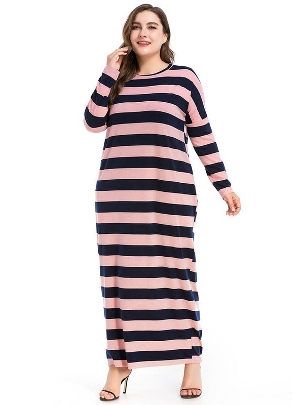 Ankle-Length Long Sleeve Patchwork Pullover Regular Dress