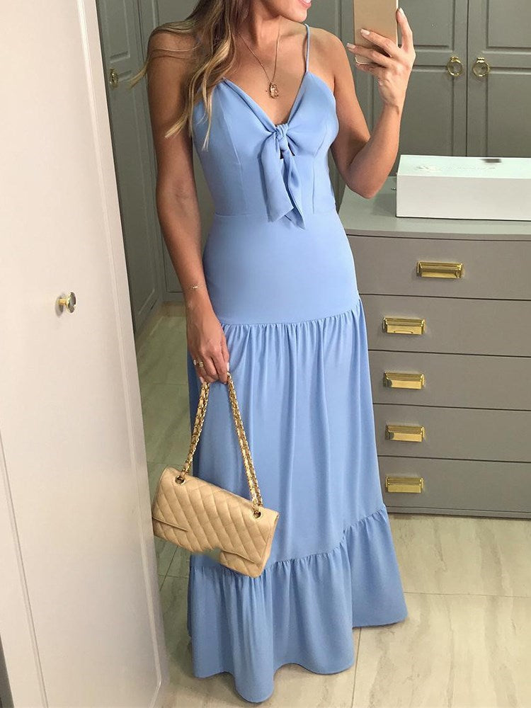 Sleeveless V-Neck Floor-Length Pullover Plain Dress