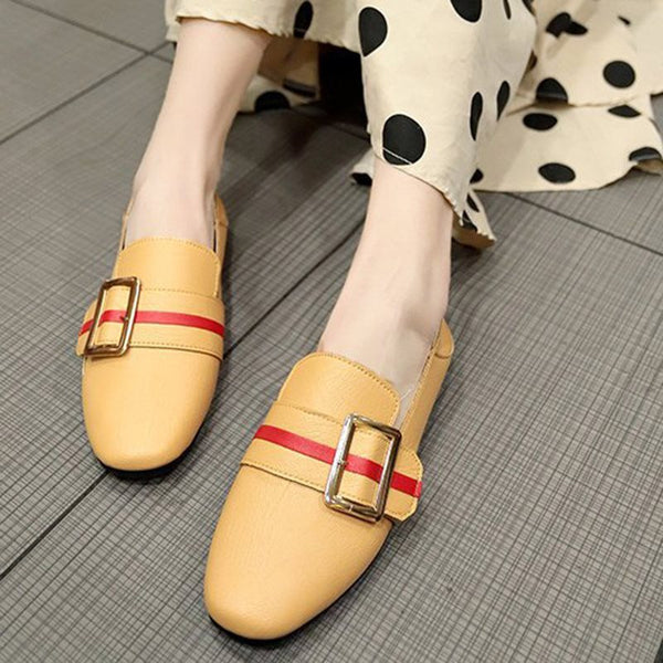 Buckle Slip-On Block Heel Square Toe Casual Low Heel Thin Shoes