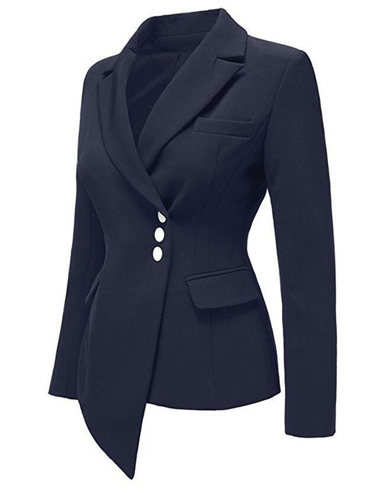 Long Sleeve Plain Lapel Regular Standard Casual Blazer