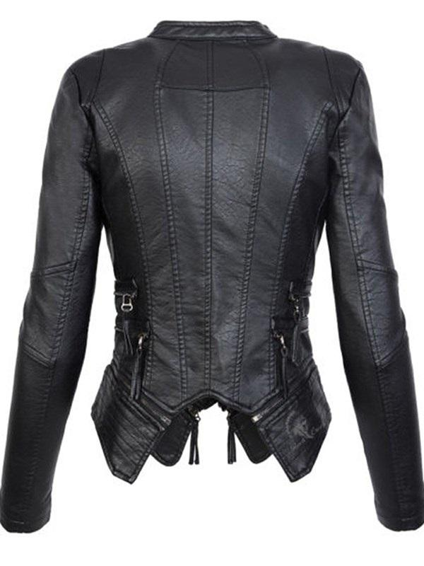 Slim Zipper PU PU Jacket