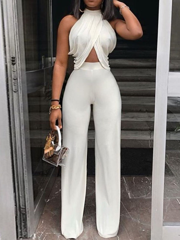 Full Length Plain Patchwork High Waist Wide Legs Jumpsuit