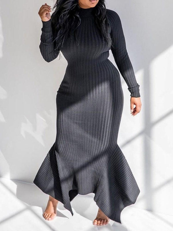 Floor-Length Stand Collar Long Sleeve Plain Pullover Dress