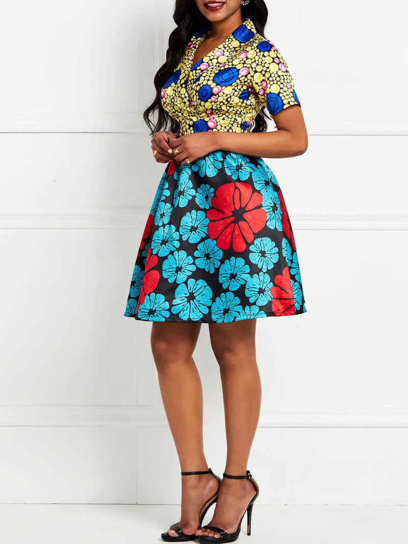 Print Short Sleeve V-Neck Floral Date Night/Going Out Dress