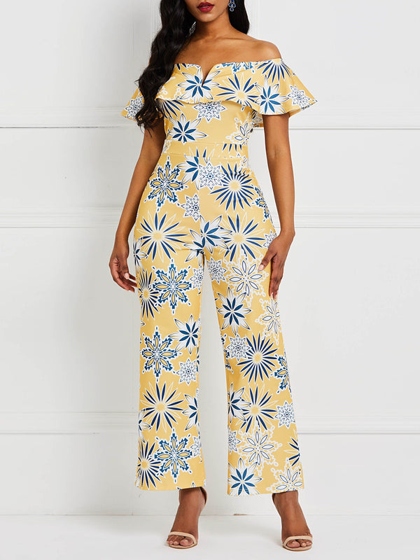 Print Full Length Casual Slim High Waist Jumpsuit
