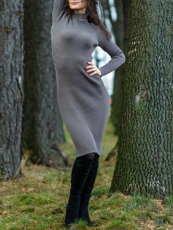 Stand Collar Long Sleeve Mid-Calf Pencil Plain Dress