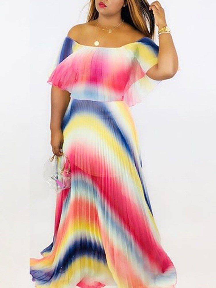 Floor-Length Off Shoulder Half Sleeve Cold Shoulder Color Block Dress