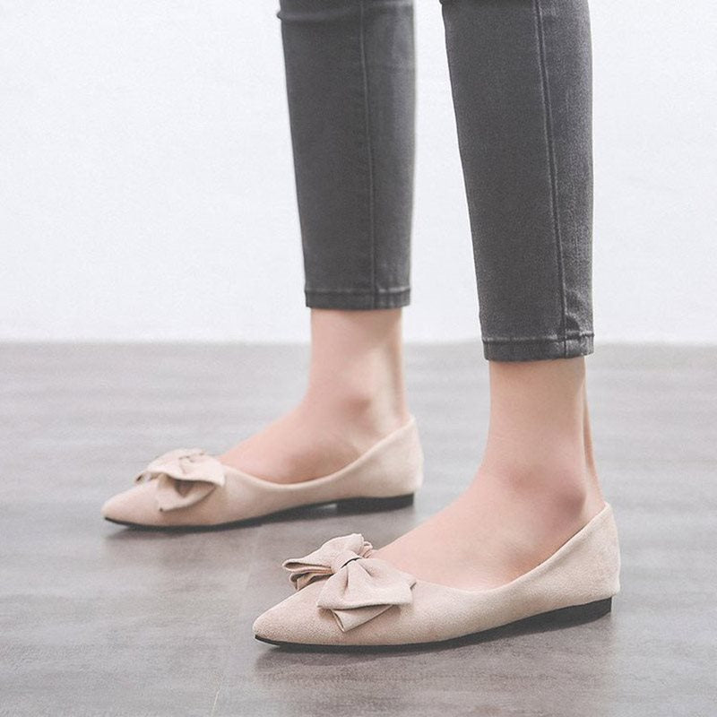 Block Heel Pointed Toe Bow Slip-On Casual Low-Cut Upper Thin Shoes