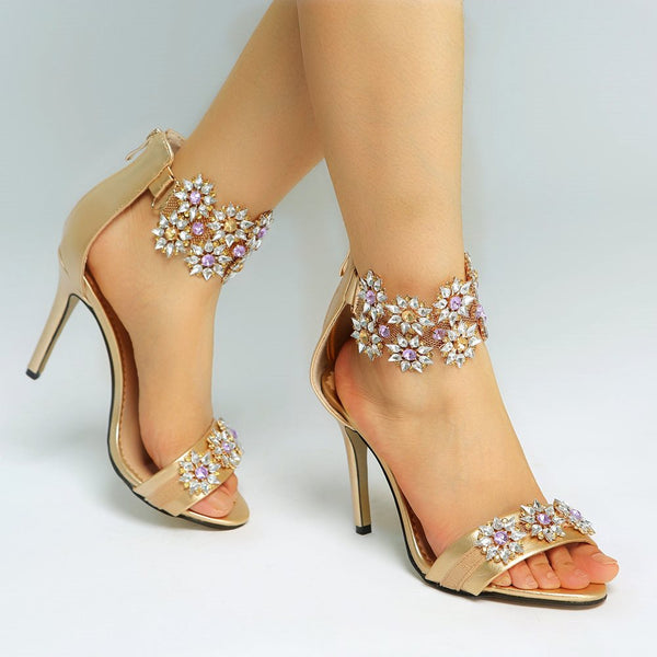Open Toe Zipper Rhinestone Sandals