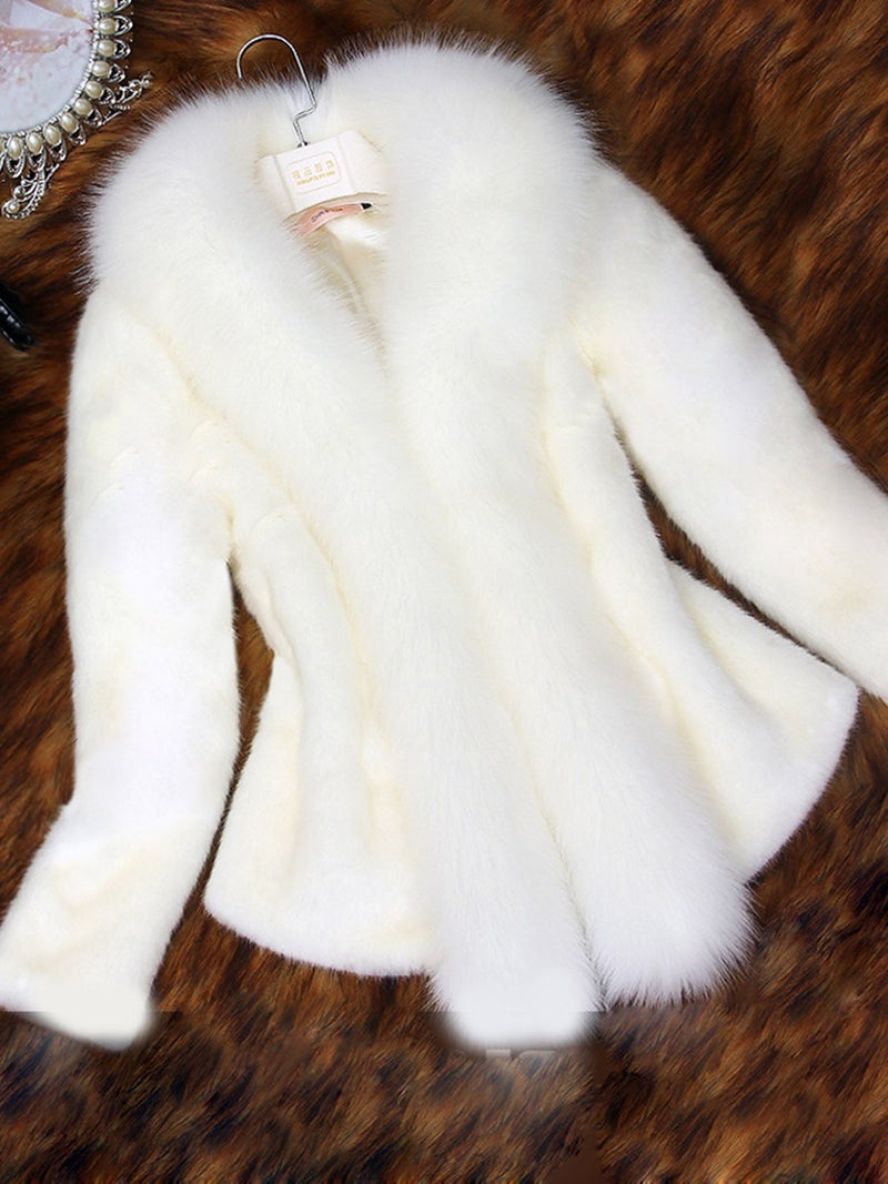 Regular Standard Plain Winter Slim Faux Fur Overcoat