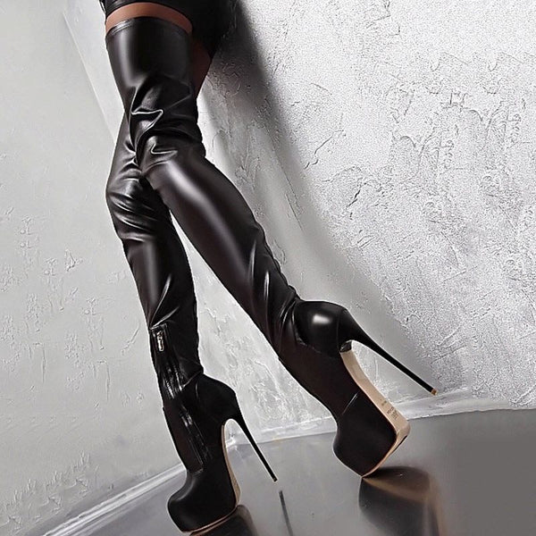 Side Zipper Plain Stiletto Heel Round Toe Platform Casual Boots