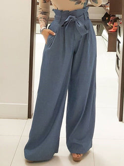 Plain Loose Stringy Selvedge High Waist Wide Legs Casual Pants