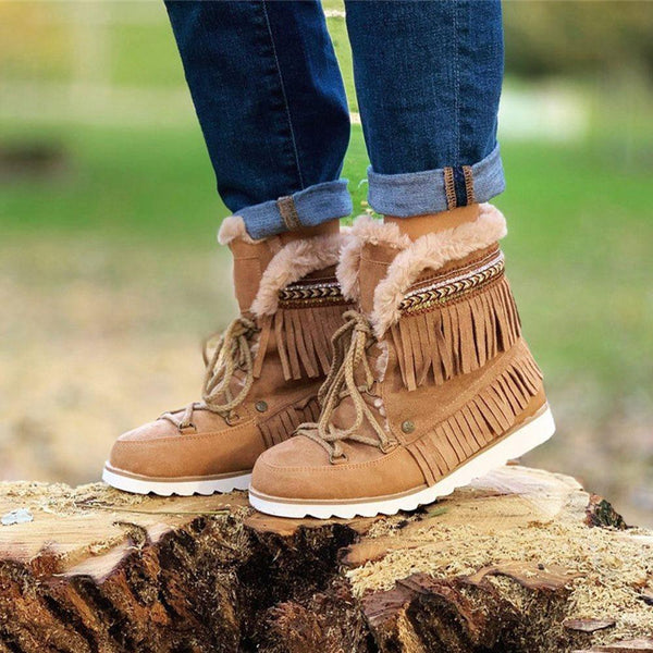 Flat With Lace-Up Front Round Toe Plain Casual Thread Boots