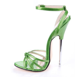 Stiletto Heel Slingback Strap Open Toe Line-Style Buckle Plain Sandals